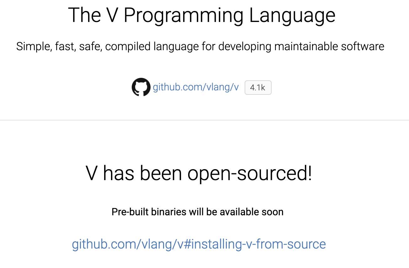 千呼万唤始出来:V语言终于开源上线啦